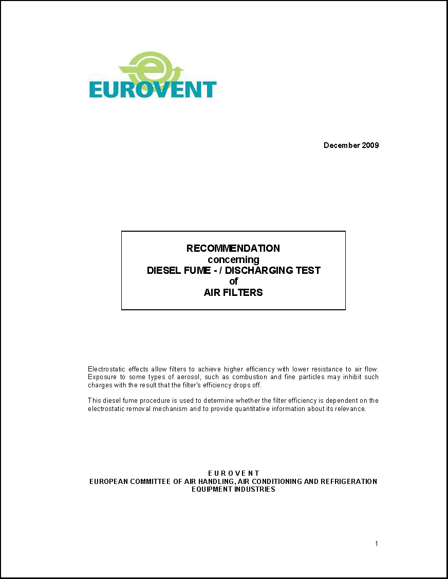 2009 - Recommendation concerning Diesel Fume: Discharging Test of Air Filters