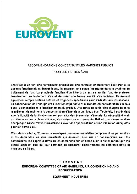 Eurovent 4/19 - 2012: Recommendations concernant les marches publics  Pour les filtres à air -  Première Édition