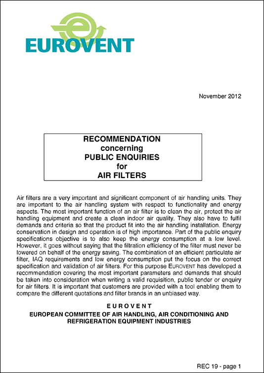Eurovent 4/19 - 2012: Industry Recommendation concerning Public Enquiries for Air Filters - First Edition