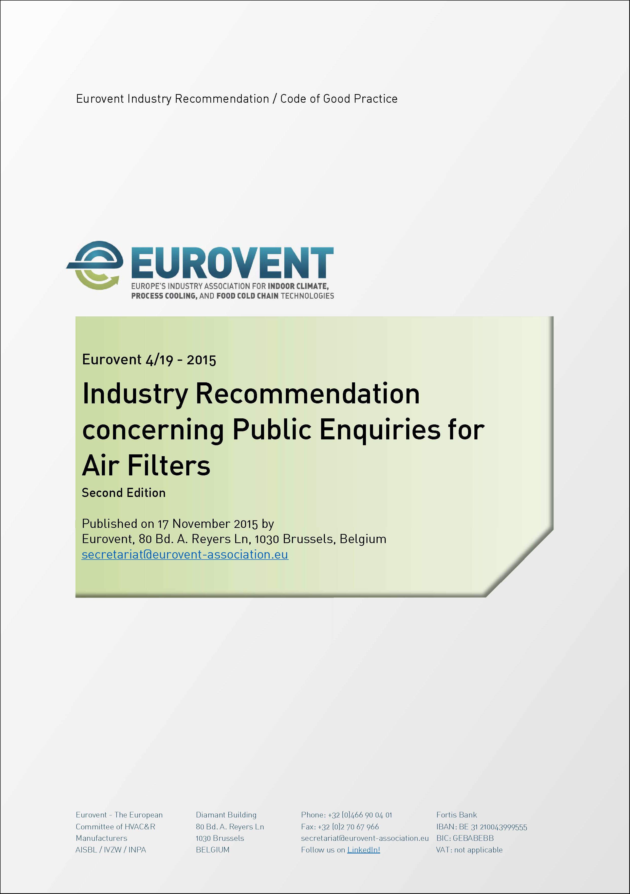 2015 - Updated Industry Recommendation concerning Public Enquiries for Air Filters