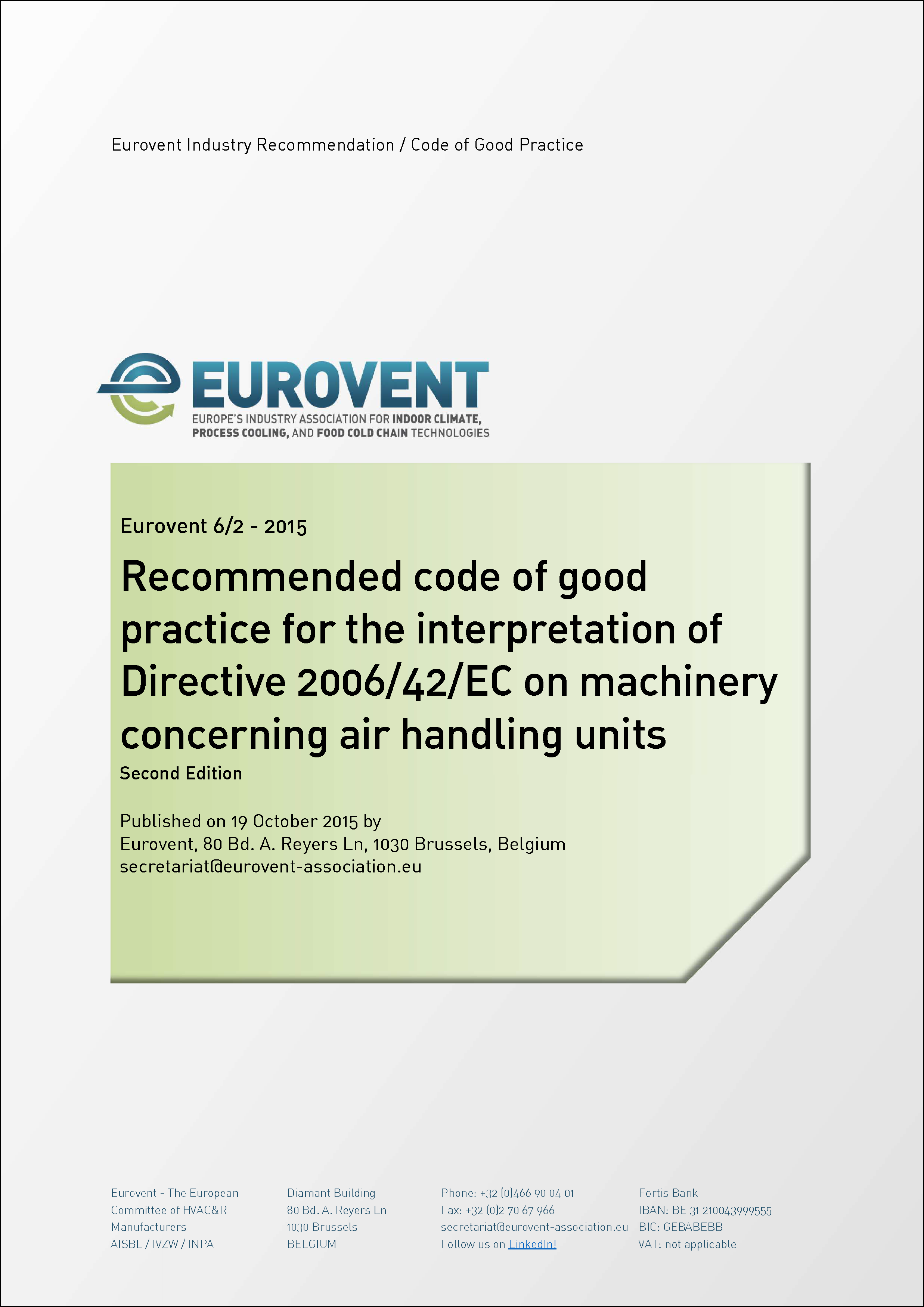 2015 - Recommended code of good practice for the interpretation of Directive 2006/42/EC on machinery concerning air handling units