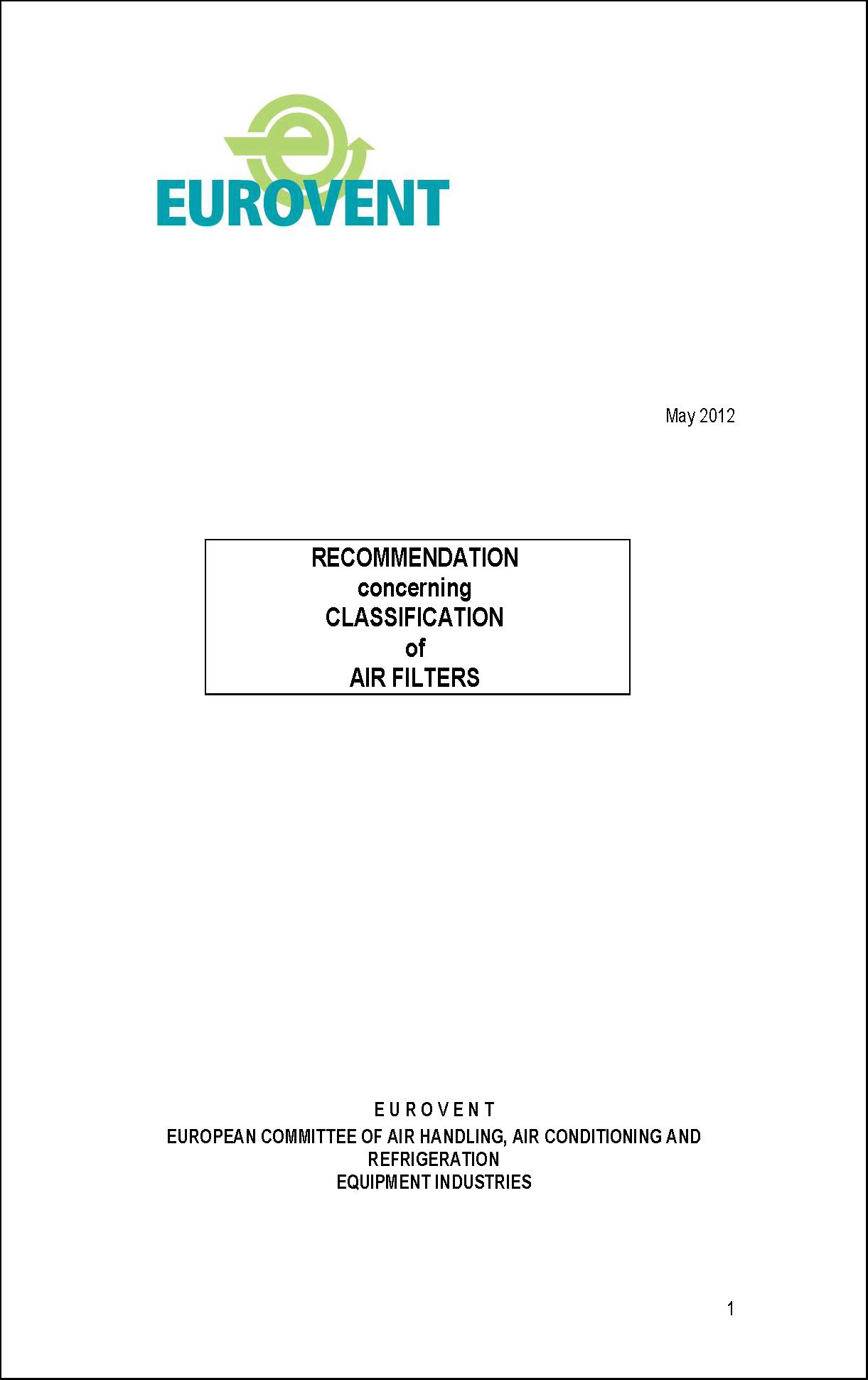 2012 - Recommendation concerning classification of air filters