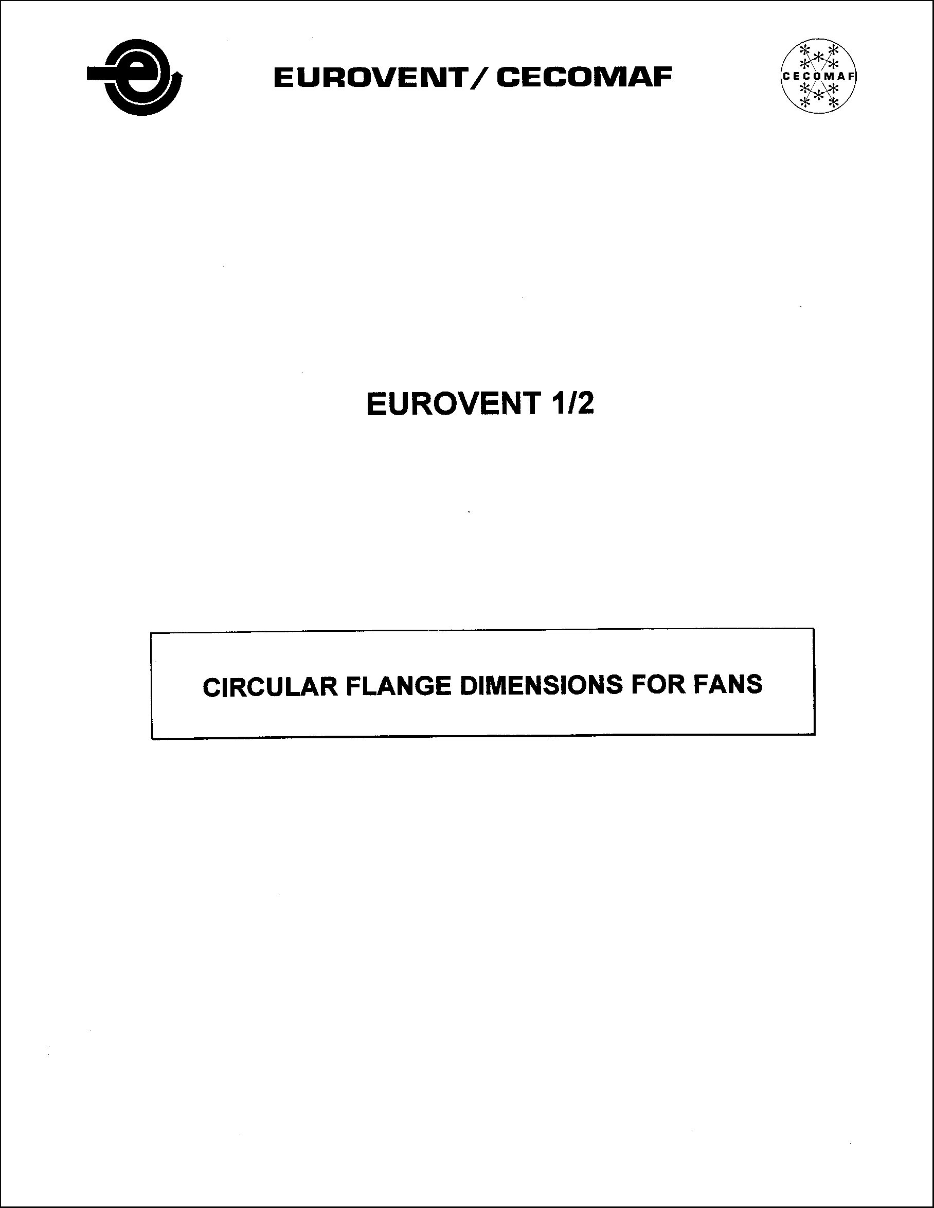 1985 - Circular flange dimensions for fans