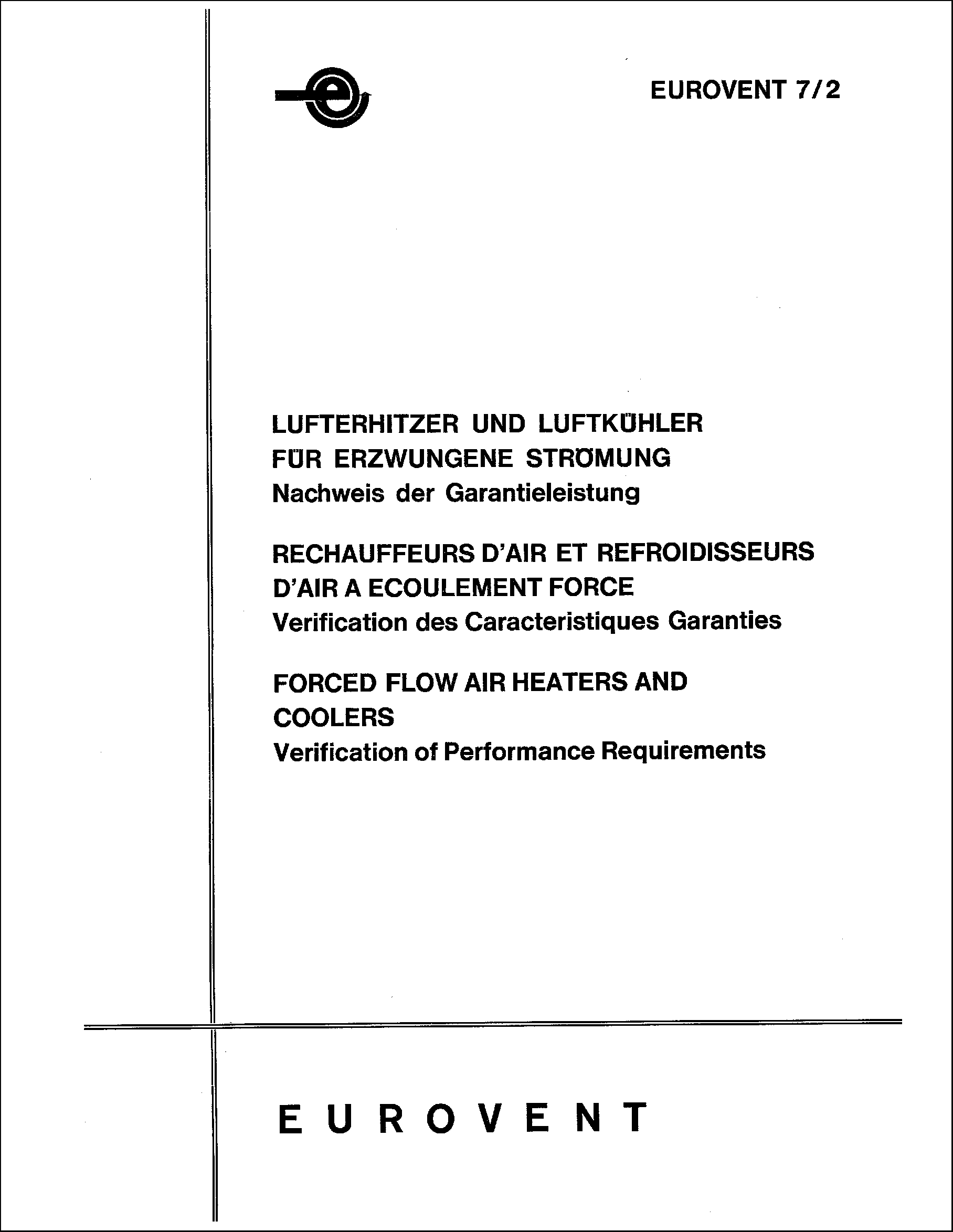 1984 - Forced flow air heaters and coolers: Verification of performance requirements