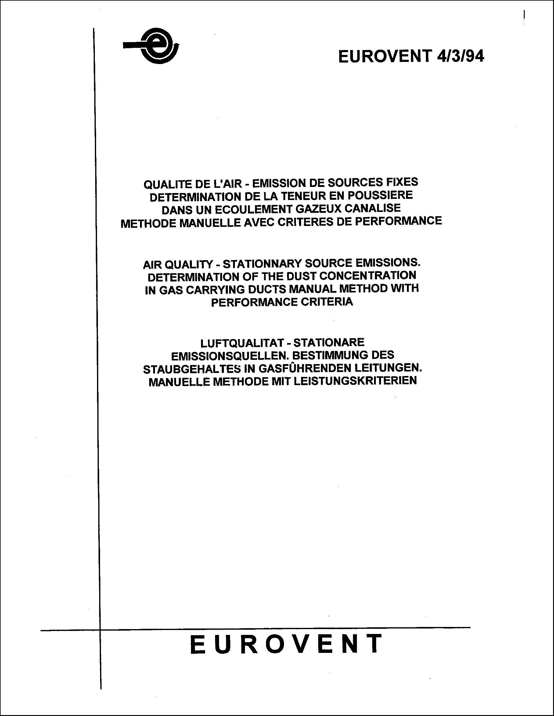 1994 - Determination of the dust concentration in gas carrying ducts