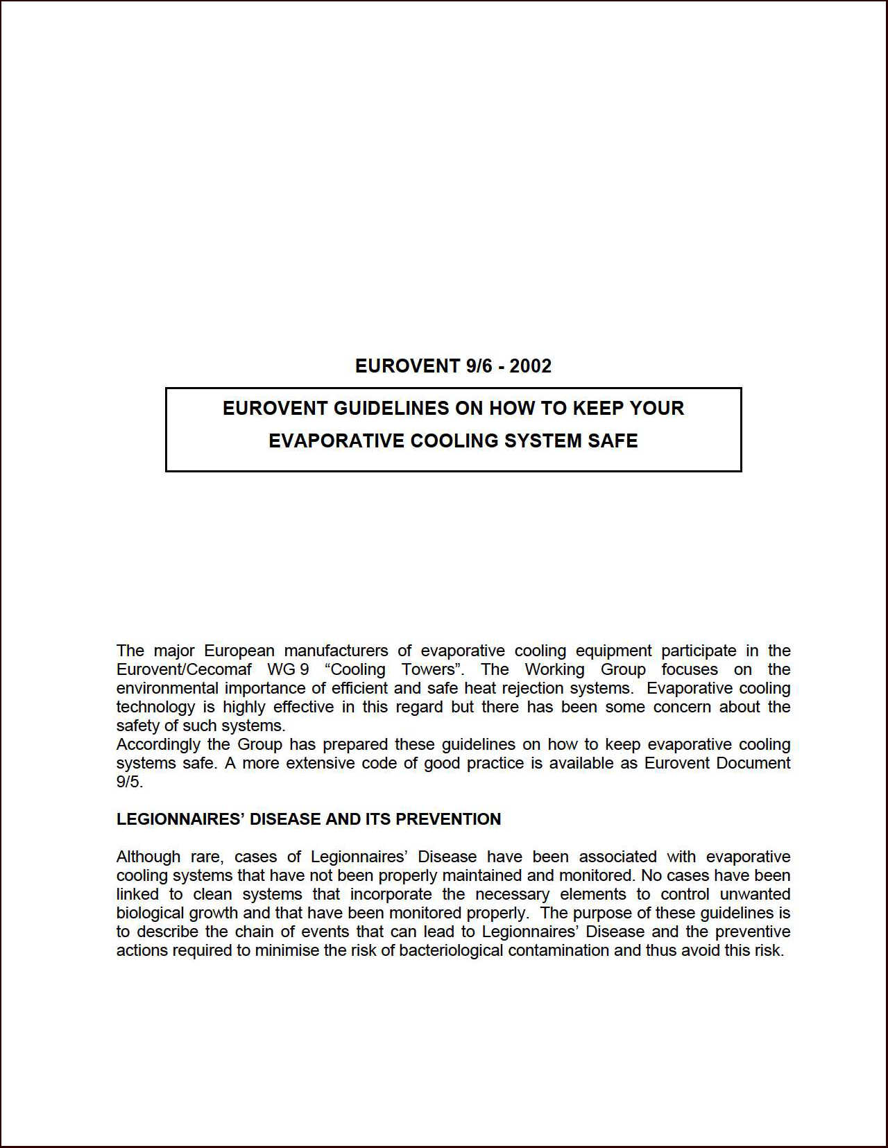2002 - Eurovent guidelines on how to keep your evaporative cooling system safe