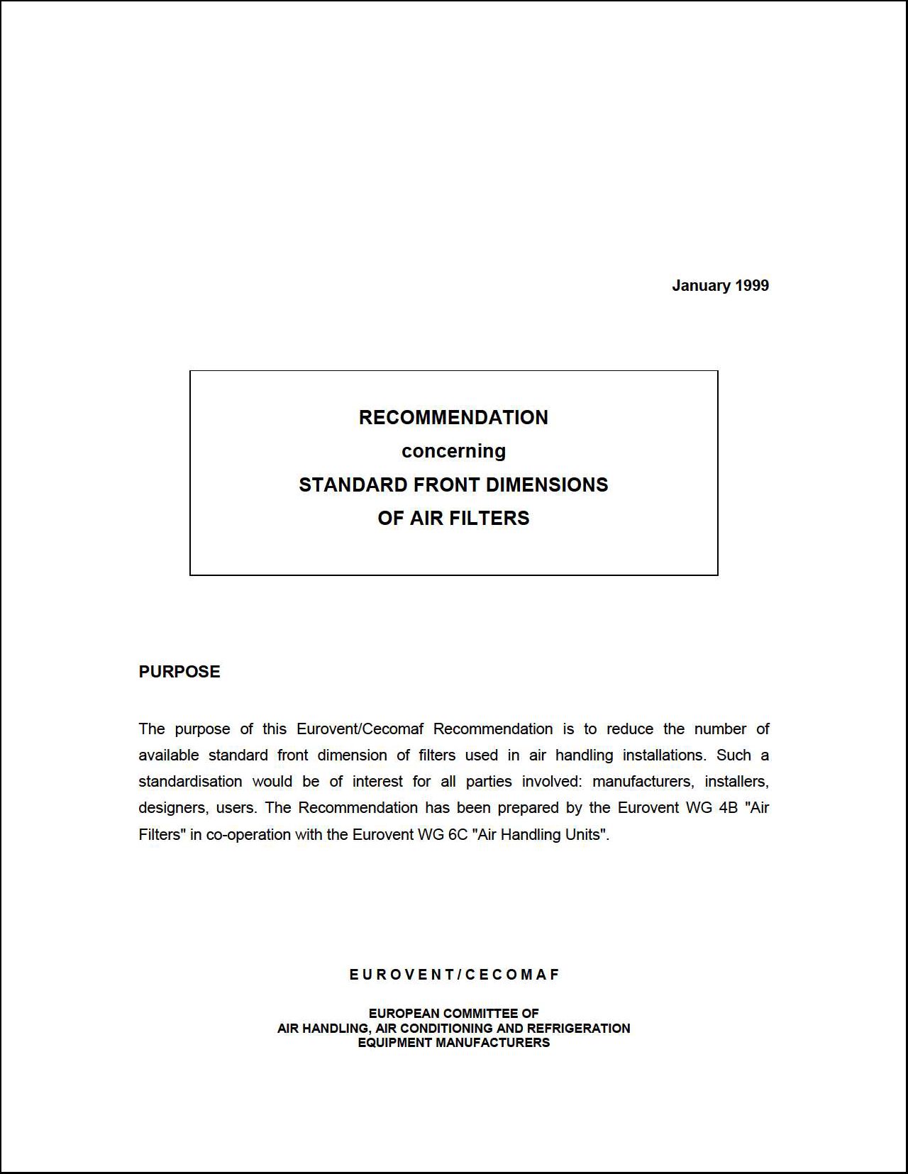 1999 - Recommendation concerning Standard front dimensions or air filters