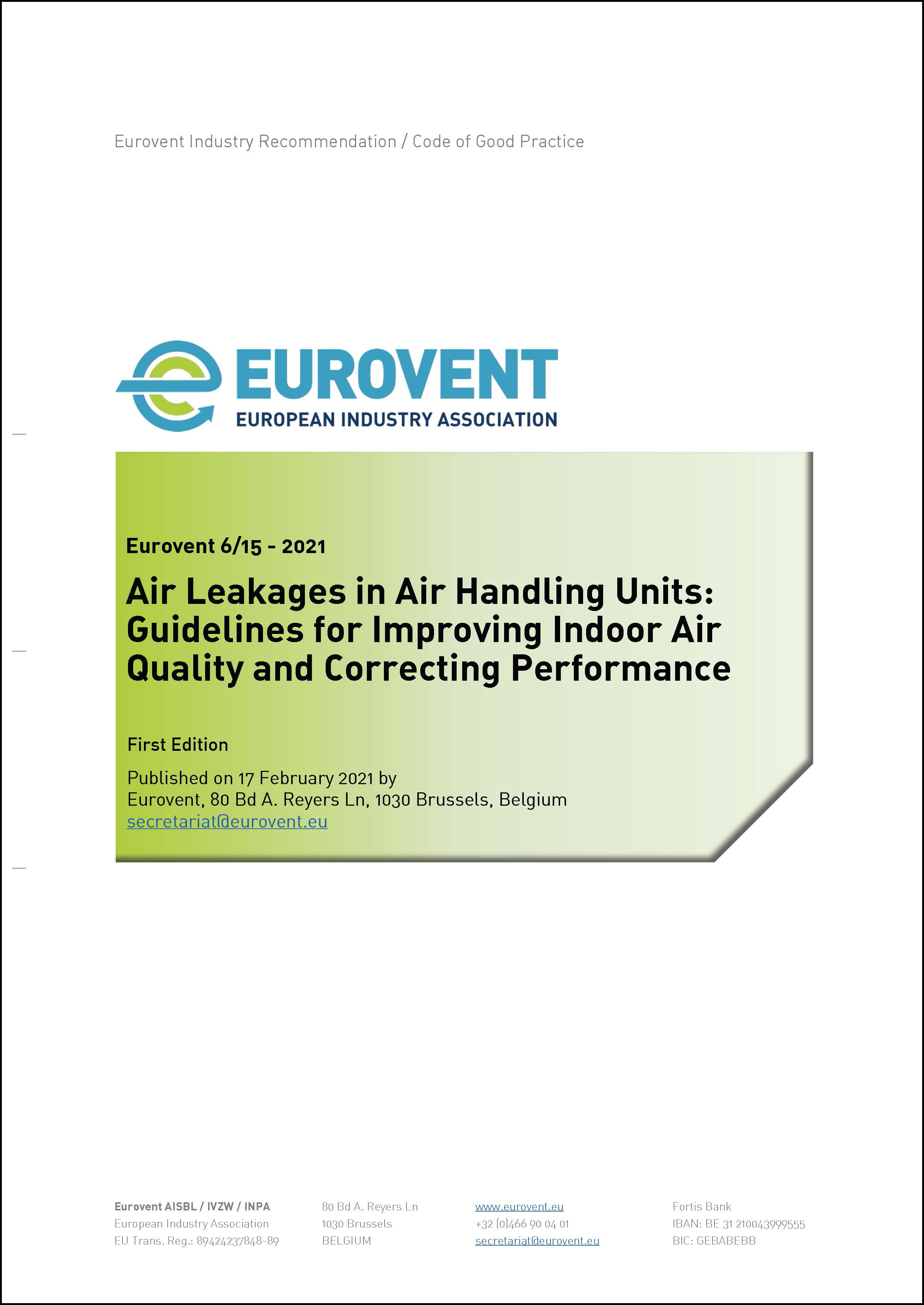 Eurovent 6/15 - 2021: Air Leakages in Air Handling Units - First Edition