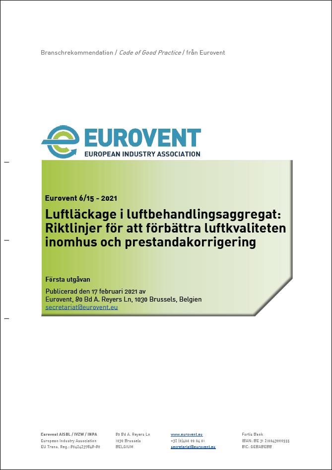 Eurovent 6/15 - 2021: Luftläckage i luftbehandlingsaggregat - Första utgåvan