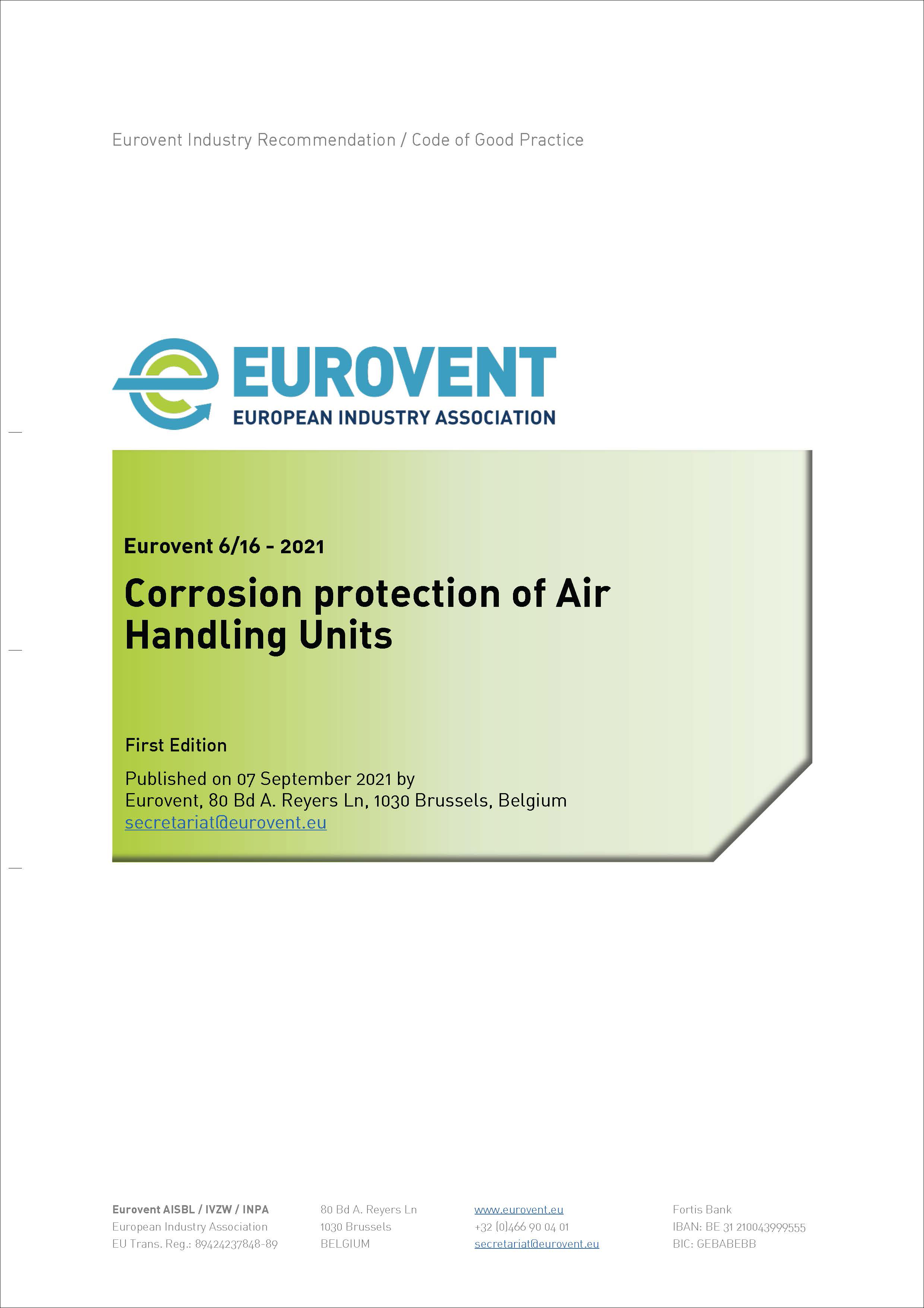 Eurovent 6/16 - 2021: Corrosion Protection of Air Handling Units - First Edition