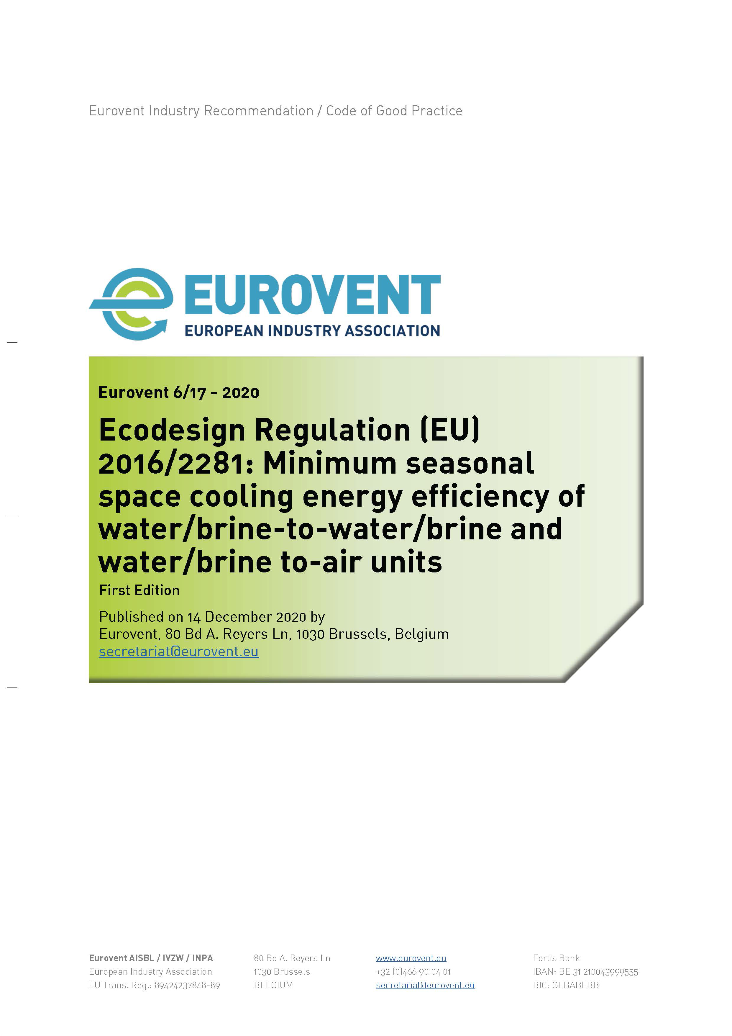 Eurovent 6/17 - 2020: Ecodesign Regulation (EU) 2016/2281: Minimum seasonal space cooling energy efficiency of water/brine-to-water/brine and water/brine to-air units