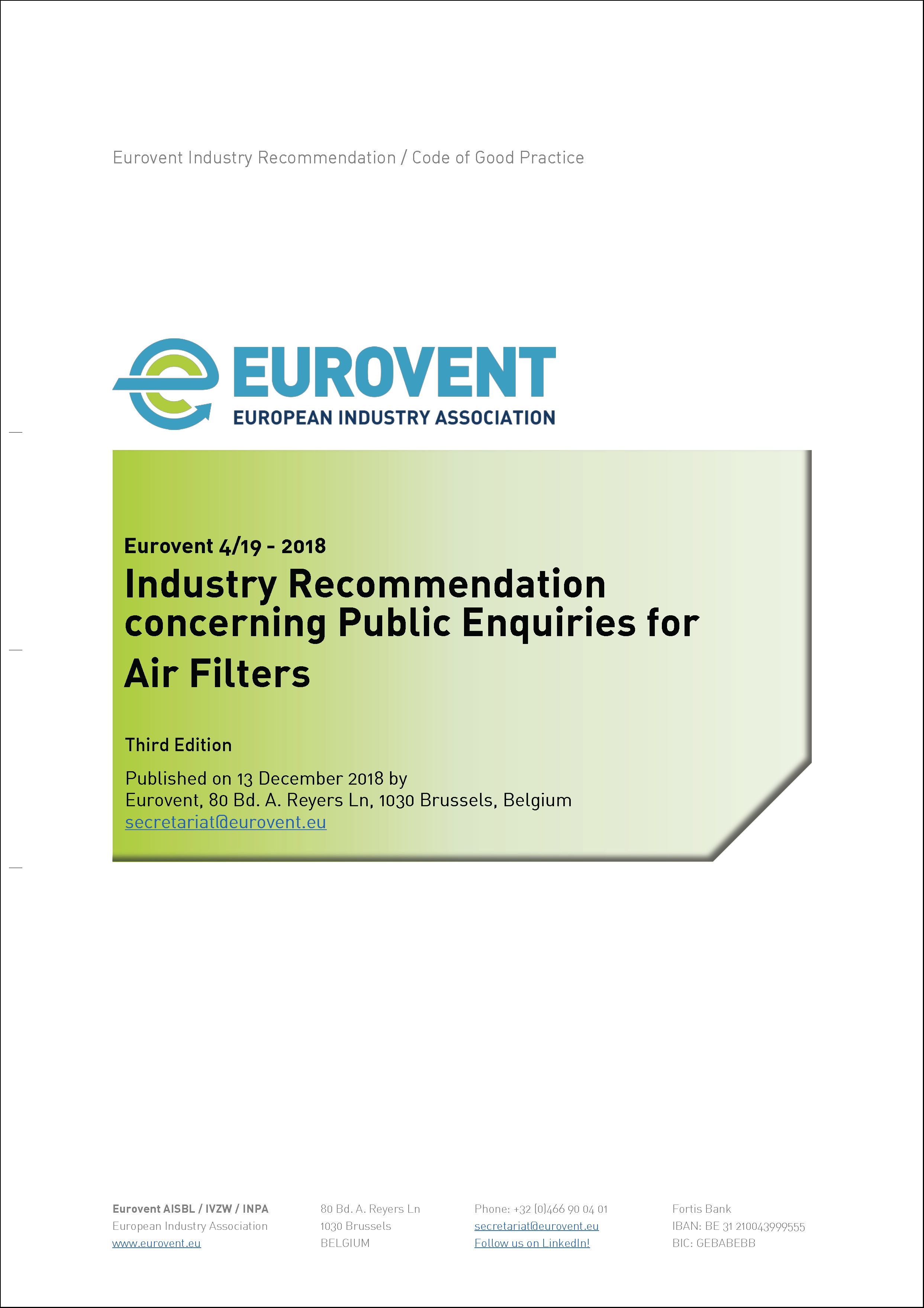 2018 - Eurovent 4/19 - 2018: Industry Recommendation concerning Public Enquiries for Air Filters