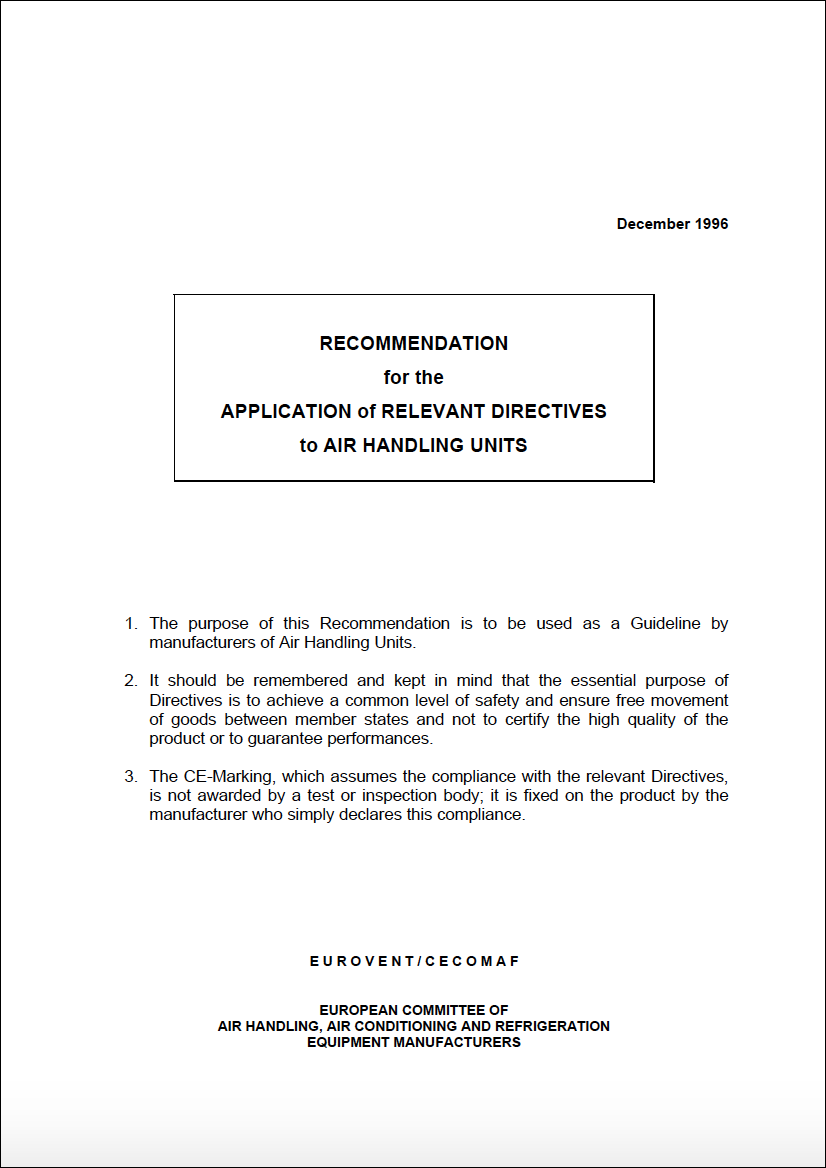 Eurovent 6/2 - 1996: Application of relevant directives to air handling units - First Edition - English